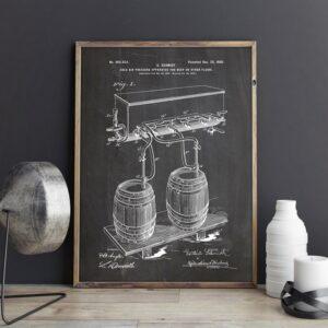 Quadro patente barril cerveja