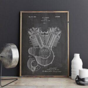 Quadro patente motor Harley 1919